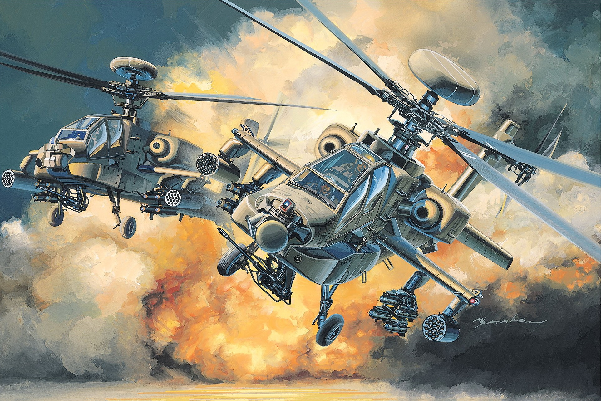 рисунок AH-64 Apache Longbow (US Army Attack Helicopter)