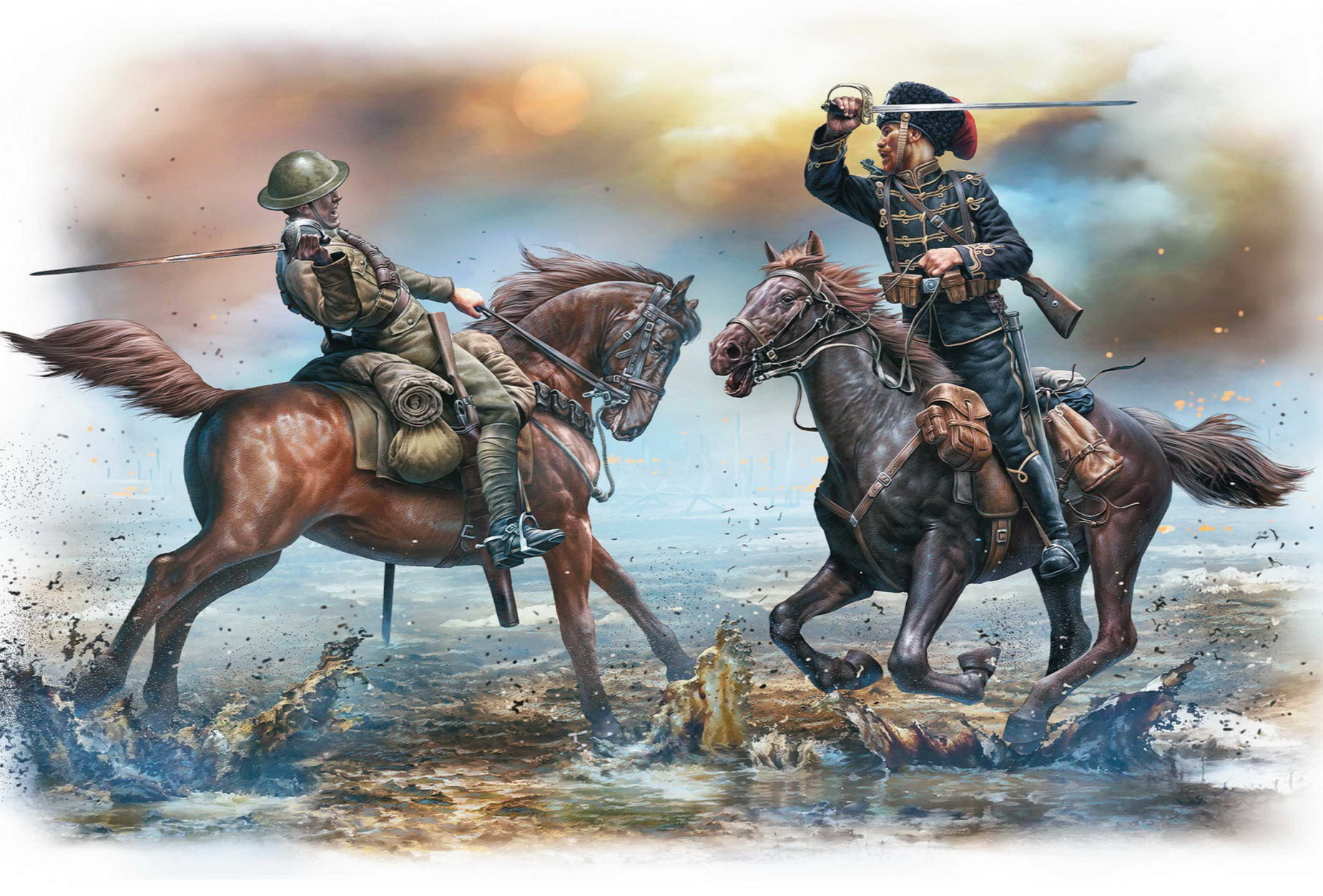рисунок British And German Cavalrymen, WWI Era