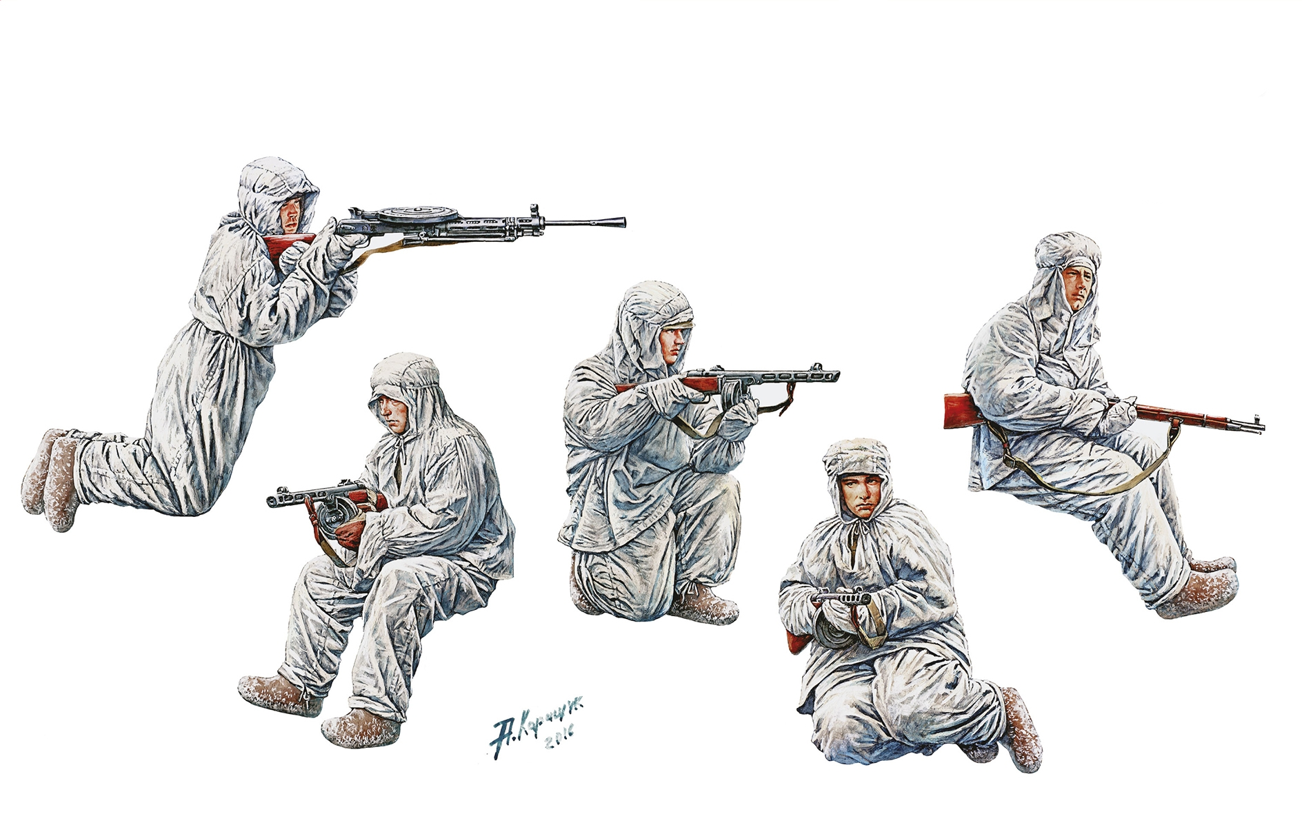 рисунок Soviet Assault Infantry (Winter Camouflage Cloaks)