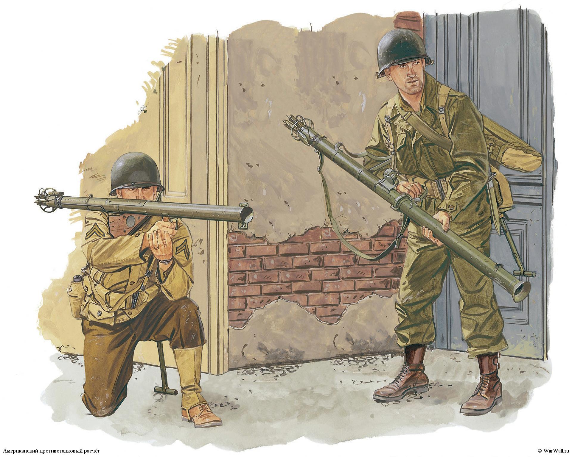 рисунок Американский противотанковый расчёт WW2